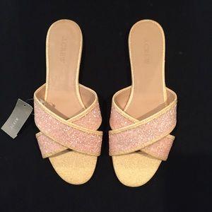 J Crew Glitter Cora Crisscross sandals Size 8.5